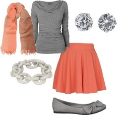 Orange and gray semi casual outfit. by maritza