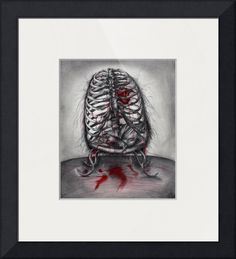 """""""Empty Cage"""" by Leia Sopicki, Rancho Cucamonga, CA // This original art drawing was inspired by lyrics from the Tori Amos song 'Crucify'. The lyric is 'you're just an empty cage girl if you kill the bird'. Human rib cage with a bleeding heart and dead bird offers up a lovely gothic horror piece. // Imagekind.com -- Buy stunning fine art prints, framed prints and canvas prints directly from independent working artists and photographers."""