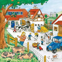 Name all the farm animals in this picture. Speech Language Therapy, Speech And Language, Speech Therapy, Writing Pictures, Picture Writing Prompts, Teaching Spanish, Teaching English, Education English, Communication Orale