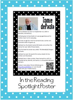 Free author poster...Tomie DePaola. I would love to have my fifth graders make one as part of a research project!