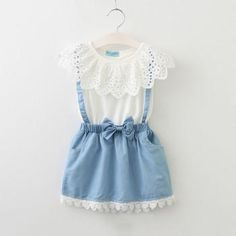 Faux 2-piece Hollow Out Lace Collar Dress for Baby Girl/Girl