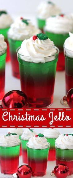 Christmas Jello Christmas Jell-O Cups & so incredibly simple to make for your Christmas parties and get-togethers. Super inexpensive and great for feeding a crowd. The post Christmas Jello appeared first on Lynne Seawell& World. Christmas Party Food, Xmas Food, Christmas Appetizers, Christmas Sweets, Christmas Cooking, Noel Christmas, Holiday Desserts, Holiday Baking, Holiday Treats