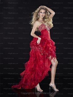 A-line Sweetheart Organza Asymmetrical Red Rhinestone Prom Dresses