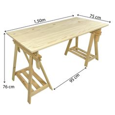Mesa de Cavaletes Design 150 x 75 Natural! Diy Pallet Furniture, Deco Furniture, Home Decor Furniture, Home Room Design, Home Office Design, Office Decor, Pinterest Room Decor, Drawing Desk, Coffee And End Tables