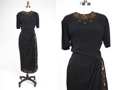 VA-VA-VOOM 1940s Inky Black Rayon Beaded & Sequined Draped