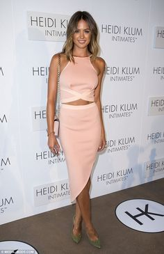 Pretty as a peach: Jesinta Campbell glowed at Heidi Klum Intimates launch on Monday at Ice...