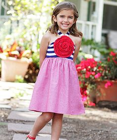 Love this Red & Navy Stripe Blooming Rose Dress - Toddler & Girls by Freckles + Kitty on #zulily! #zulilyfinds