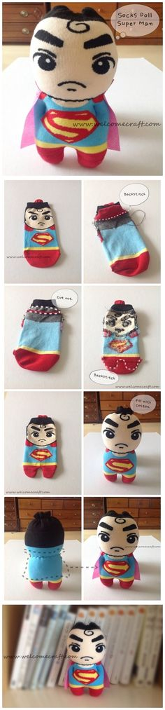 How to make socks doll Super Man DIY step by step tutorial instruction ... Next project! See more awesome stuff at http://craftorganizer.org