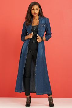 """""""Shop metrostyle for our Duster Dress. Browse our online catalog for more unique and bold clothing, shoes and accessories to complete your look. 50 Fashion, Denim Fashion, Fashion Outfits, Womens Fashion, Winter Fashion, Fall Outfits, Casual Outfits, Cute Outfits, Denim Outfits"""