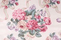 Waverly Roses N Ribbons Printed Polished Cotton Drapery Fabric $5.95 per yard
