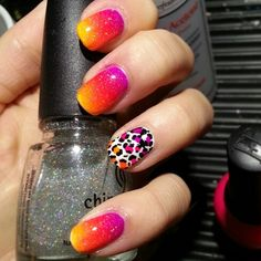 Another one of my favorites!  #nails #nailart #leopard #leopardprint #manicure #gradient #purple #pink #yellow