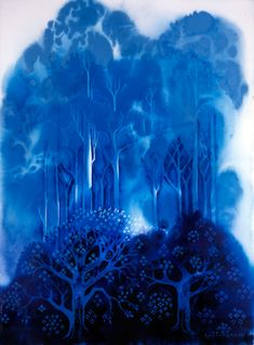 "Eyvind Earle, ""Blue Forest 2"". He was the artist that did the styling, backgrounds, and coloring of Disney's ""Sleeping Beauty"""