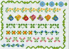 various cross-stitch borders with small motifs colored flowers ...