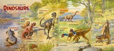 Stamp Collecting Month: Australia's Age of Dinosaurs The Lost World, Australian Animals, Prehistoric Animals, Stamp Collecting, Mammals, Reptiles, Archaeology, Illustrators, Moose Art