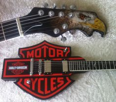 Guitar Blog: Here's one for all you bikers out there: Harley Davidson logo guitar