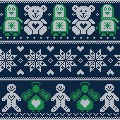 Scandinavian Christmas winter pattern with Penguins, teddy bears, angels, gingerbread man, decorative flowers and ornaments in Norwegian style cross stitch on dark blue background — Stockvektor