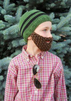 Beard Hat Knit Boys & Mens Cap Knitted Beanie by LittleBirdLucy, $29.99