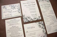 Floral Blush and Navy Custom Wedding Invitation / Stationery by emDOTzee