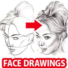 How to Draw a Face : Here's a simple way to place the features accurately when drawing a head. First draw a vertical line down the middle of the face. Then draw a horizontal line halfway betwee Drawing Techniques, Drawing Tips, Drawing Hair, Drawing Ideas, Drawing Designs, Sketching Tips, Wall Drawing, Pencil Sketches Easy, Pencil Drawing Tutorials