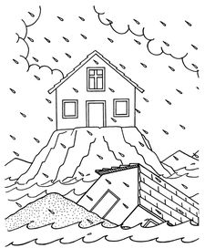 Matthew 5-7: Sermon on the Mount; Wise & Foolish Builder Coloring Page