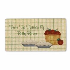 This Apple Pie Label features mouse drawn country art. Yes I got hungry for pie designing it! Change the text to your own liking. Great for Bakery Labels too!