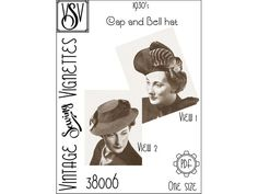 1930's Cap and Bell hat One size PDF sewing pattern VSV | Etsy