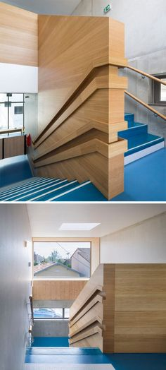Stair Design Ideas - 9 Examples Of Built-In Handrails // These dual handrails in a day care have been built into the wood wall, making sure both the children and the adults have a space to hold on to.