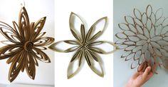 Spar på toarullar och gör fina julstjärnor som du kan måla dem eller hänga upp som de är.