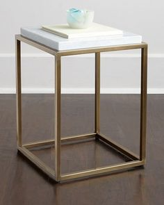"""Handcrafted side table. Brass base with antiqued finish. Marble top. 12""""Sq. x 18""""T. Imported. Boxed weight, approximately 32 lbs."""
