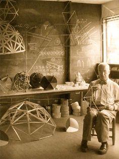 Buckminster Fuller working in his studio at Black Mountain College