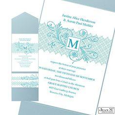 Blossoming Monogram Wedding Invitation with Pocket - Aqua