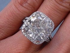 8.33 CARATS CT TW CUSHION CUT DIAMOND ENGAGEMENT RING H-I SI2-SI3 in Jewelry & Watches | eBay