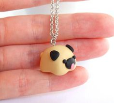 Funny Pug tiny chubby charm Collar pendant pet dog jewellery handmade in polymer clay Fimo Kawaii, Polymer Clay Kawaii, Polymer Clay Animals, Fimo Clay, Polymer Clay Projects, Polymer Clay Charms, Handmade Polymer Clay, Polymer Clay Earrings, Clay Crafts