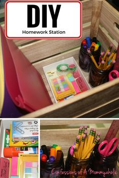 With back to school looming, have created a DIY Homework Station for our table where my family does their homework and am sharing thanks to Box Tops.