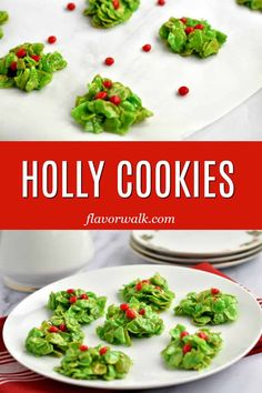 Holly Cookies - Living Freely Gluten Free - Holly Cookies These festive, no-bake Holly Cookies, are an easy addition to your holiday dessert platter, or Christmas cookie tray. The bright green cookies topped with red candies look like pieces of holly. Gluten Free Christmas Cookies, Gluten Free Sugar Cookies, Gluten Free Peanut Butter, Gluten Free Marshmallows, Healthy Snacks, Healthy Recipes, Free Recipes, Green Food Coloring, Dessert Platter