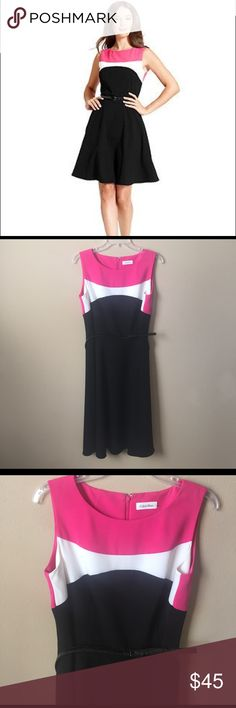 Calvin Klein size 10 pink black white belted dress Excellent condition! Dresses