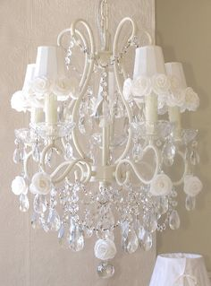 Vintage Inspired Chandelier 1323 White Roses Shades Included-vintage, pink, romantic, sparkle, crystals, white, cream, lavender, shade, chandelier, night light, upscale,