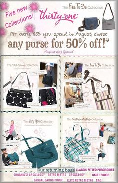 August 2013 Customer Special-Best of Summer Purses and NEW for Fall preview at 50% off!  Book your party with me!  Brooklyn Foster - Consultant bdfost@gmail.com (785) 737-6328 www.mythirtyone.com/Turkville31