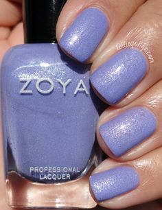 Zoya: Aster- This is an adorable, not quite periwinkle shade, but it's too pastel-y either. Plenty of iridescent sparkle. Average wear time, and needs acetone for removal. Purple Nail Designs, Pretty Nail Designs, Toe Nail Designs, Nail Polish Designs, Zoya Nail Polish, Nail Polish Colors, Chic Nails, Trendy Nails, Green Toe Nails