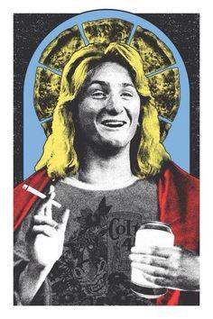 Saint Spicoli art print by lastleafprinting on Etsy Character Illustration, Illustration Art, Dudeism, Fast Times, North Hollywood, Atheist, Zine, Street Art, Religion