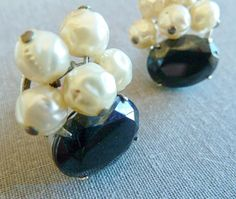 Juliana style earrings Black Glass and Pearl clusters 1960s Jewelry via Etsy
