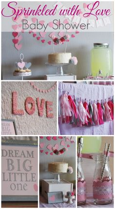 "What a beautiful pink ""sprinkled with love"" baby shower! See more party ideas at CatchMyParty.com. #babyshower #partyideas"