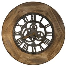 Howard Miller metal iron quartz oversize large Wall Clock diameter oversized gallery wall clock features a heavily distressed rustic wood frame with a driftwood finish and burnished edges. Rustic Mantel, Rustic Walls, Rustic Wood, Rustic Wall Clocks, Unique Wall Clocks, Clock Wall, Wall Art, Auburn, Oversized Clocks