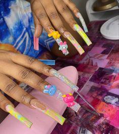 Dope Nail Designs, Nail Art Designs Images, Long Square Acrylic Nails, Cute Acrylic Nails, Gorgeous Nails, Pretty Nails, Star Clothing, Kawaii Nails, Coffin Shape Nails