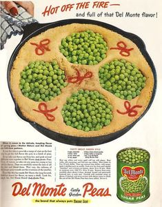 Fluffy Omelet, Garden Style, thoughtfully designed so that an individual mound of peas is provided for each lucky guest.