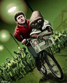 E.T. y Elliot escapan de los zombies.