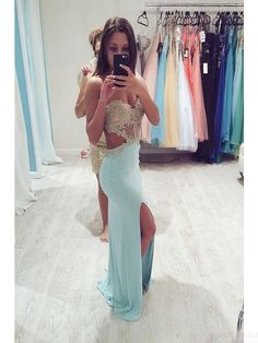 Sexy Sweetheart prom dresses, Beading Split prom dress,Floor Length Prom Dresses ,Evening Party Dresses#simibridal