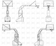 Wireframe design of professional basketball stand