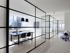 nice glass wall system, open space...