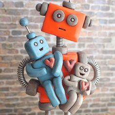 TBT: this human now understands this robot parent's look of dismay we'd both would like a nap | Handmade by HerArtSheLoves of Robots Are Awesome http://theawesomerobots.com
